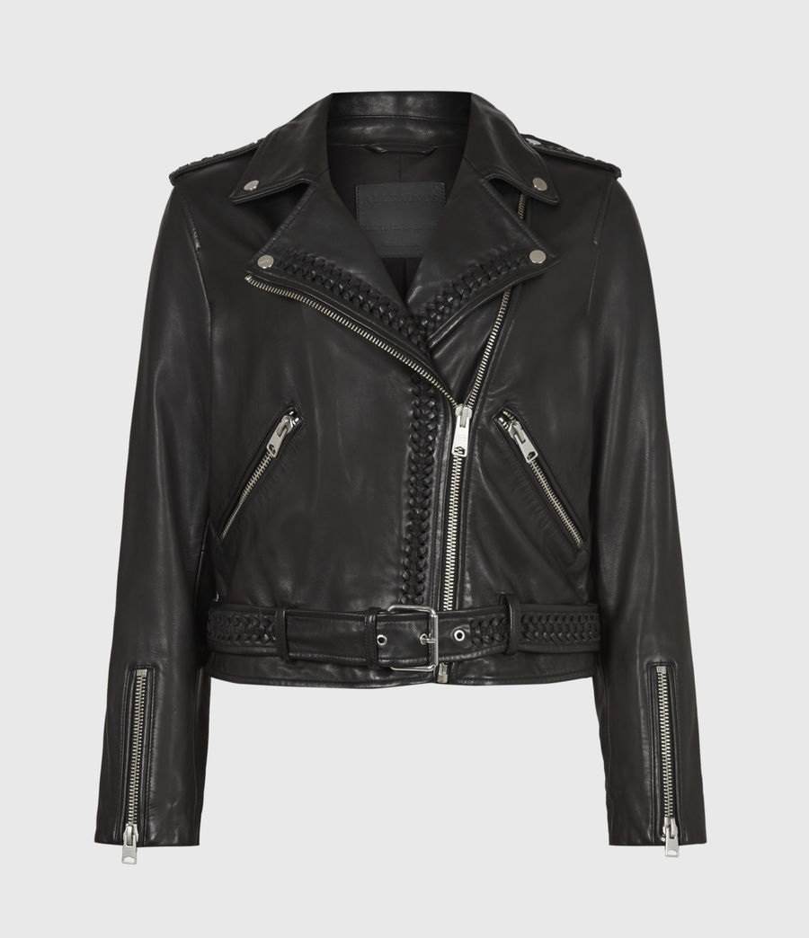 Women's Braided Leather Biker Jacket (black) - Image 2