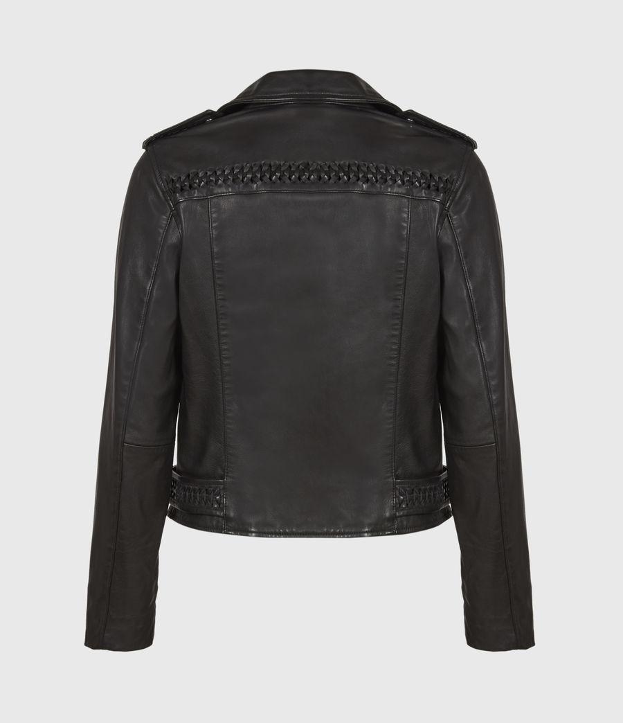 Women's Braided Leather Biker Jacket (black) - Image 3