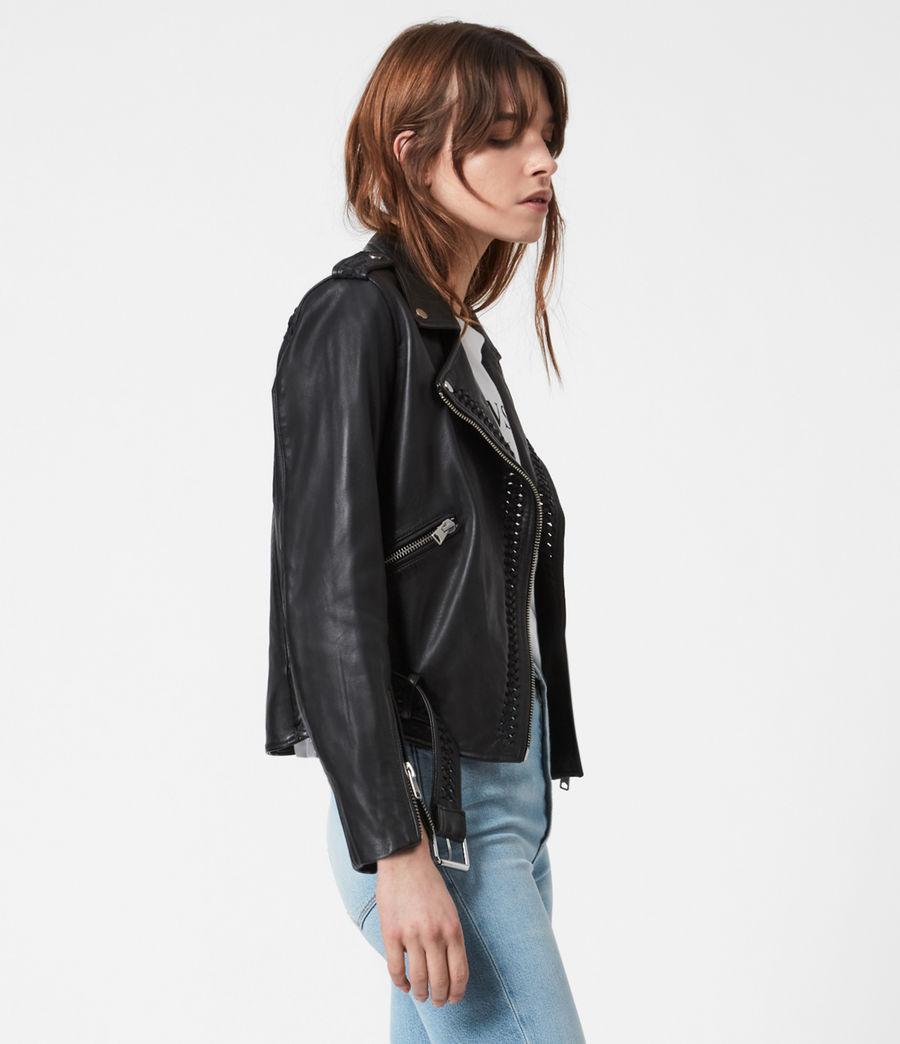Women's Braided Leather Biker Jacket (black) - Image 4