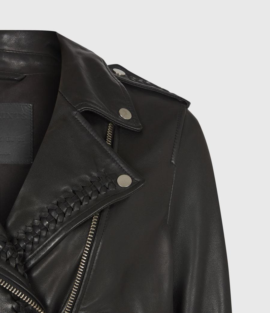 Women's Braided Leather Biker Jacket (black) - Image 5