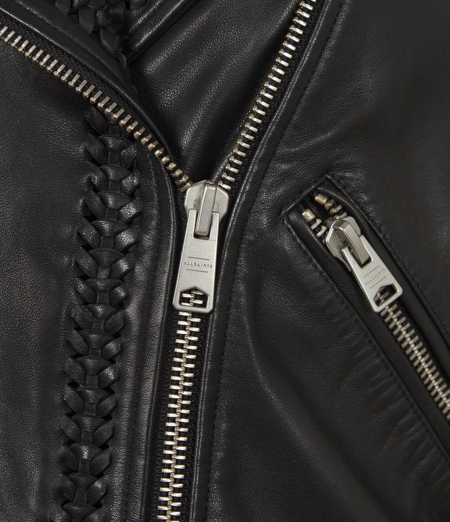 Women's Braided Leather Biker Jacket (black) - Image 6