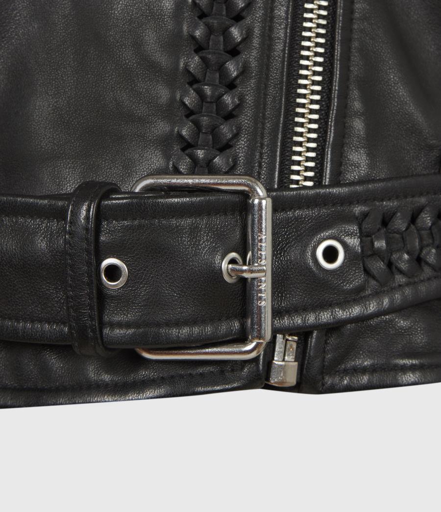 Women's Braided Leather Biker Jacket (black) - Image 7