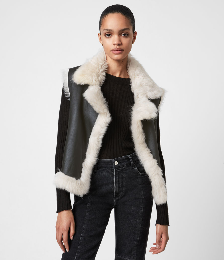 Womens Reversible Shearling Gilet (black) - Image 1
