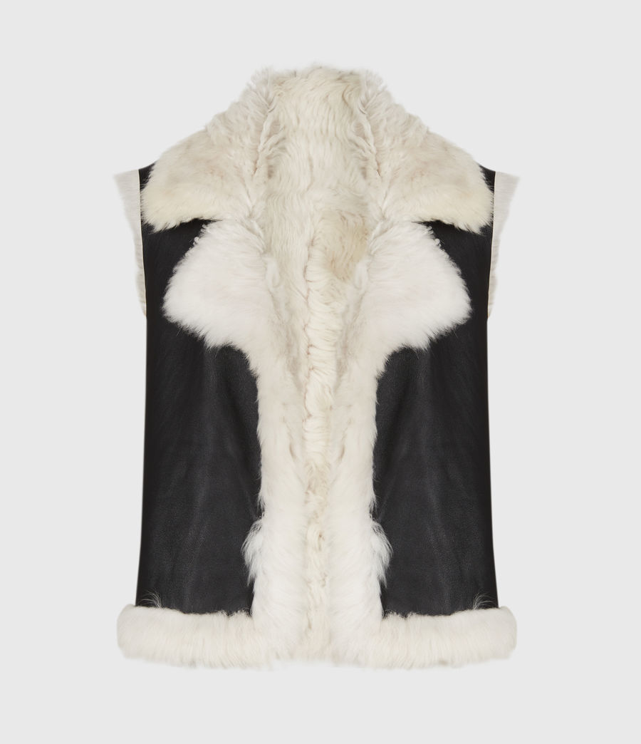 Womens Reversible Shearling Gilet (black) - Image 2