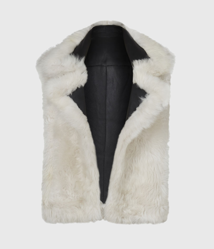 Womens Reversible Shearling Gilet (black) - Image 3