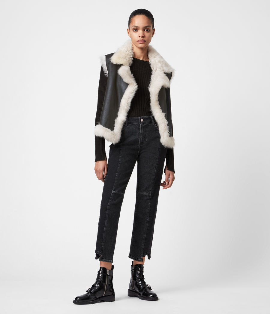 Womens Reversible Shearling Gilet (black) - Image 4