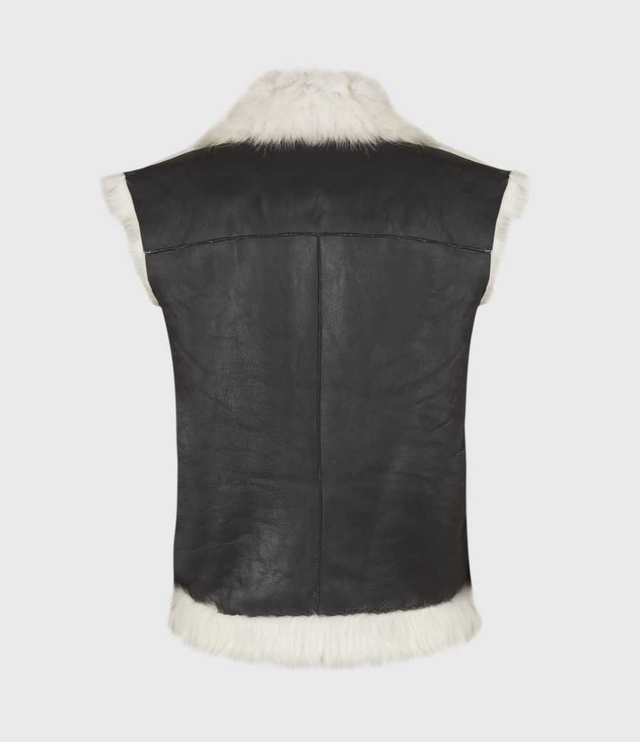 Womens Reversible Shearling Gilet (black) - Image 5