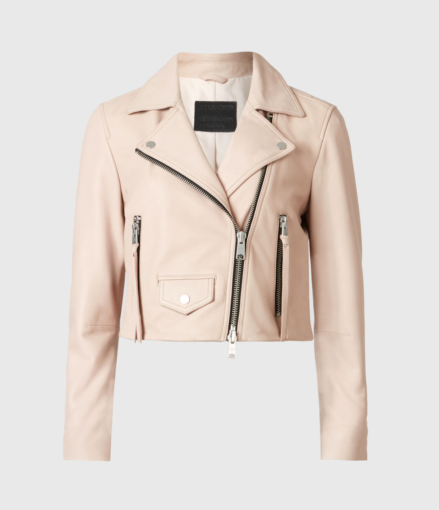 Women's Elora Leather Biker Jacket (pale_pink) - Image 2