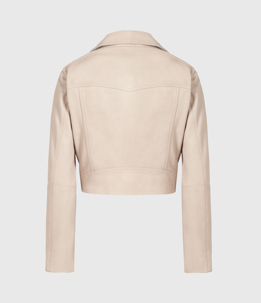 Women's Elora Leather Biker Jacket (pale_pink) - Image 3