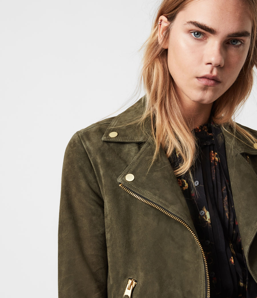 Womens Suede Dalby Biker Jacket (emerald_green) - Image 2