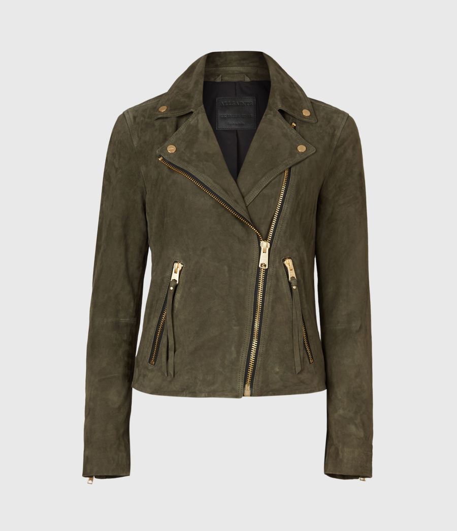Womens Suede Dalby Biker Jacket (emerald_green) - Image 3