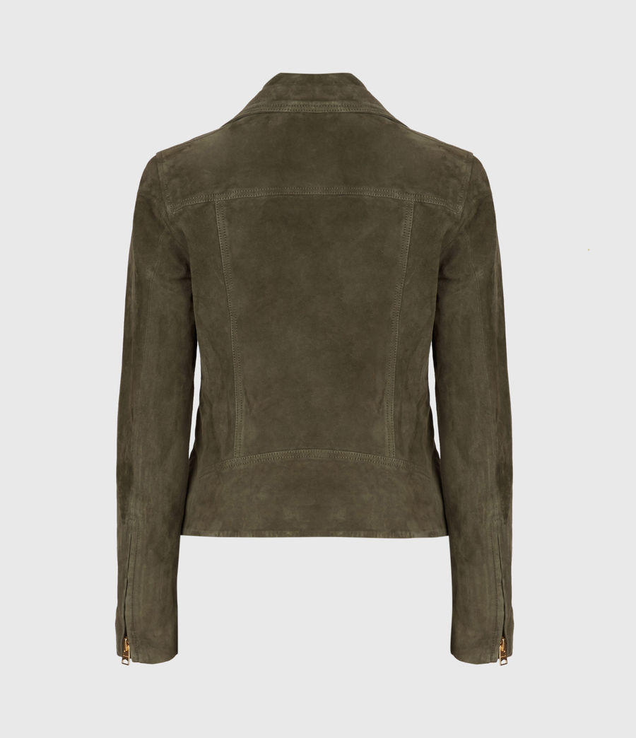 Womens Suede Dalby Biker Jacket (emerald_green) - Image 4