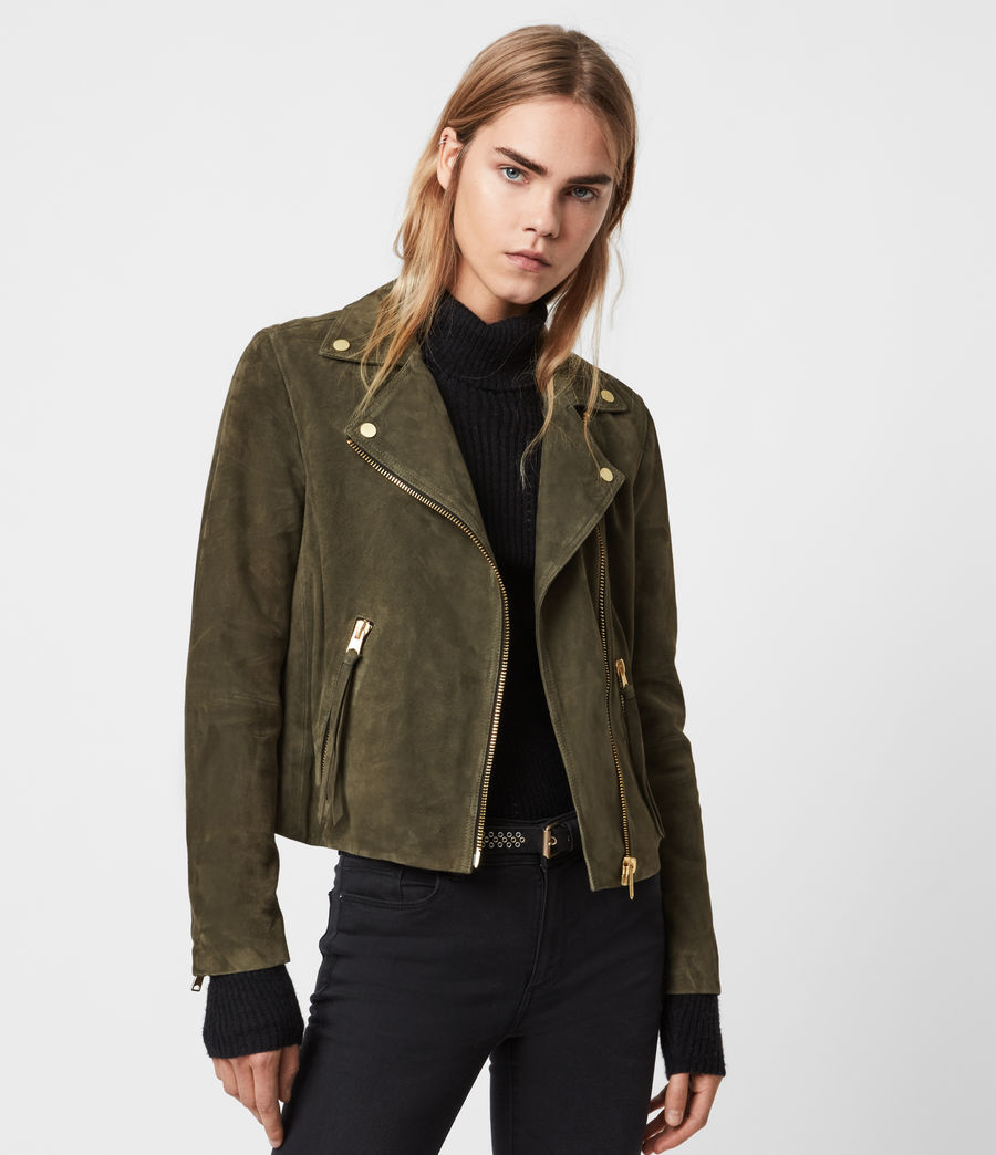 Womens Suede Dalby Biker Jacket (emerald_green) - Image 5
