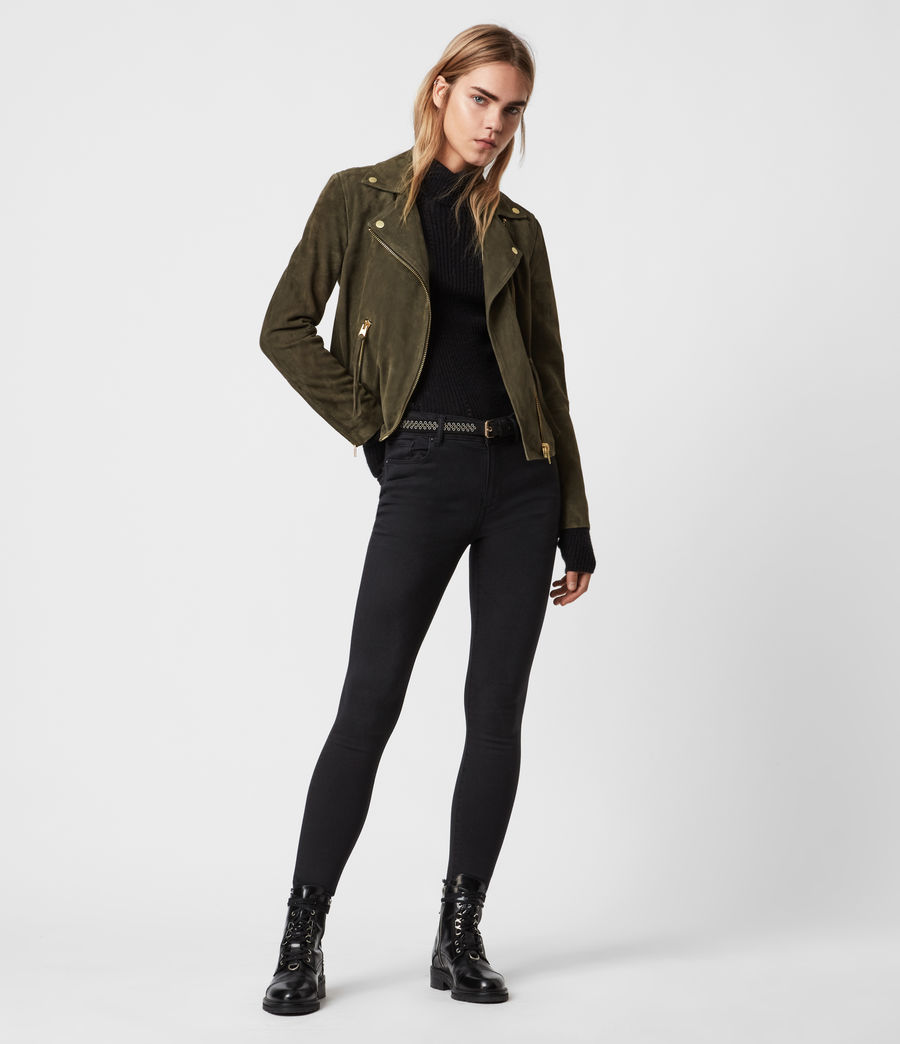 Womens Suede Dalby Biker Jacket (emerald_green) - Image 6