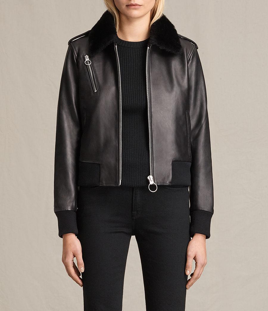 Damen Carpen Bomberjacke aus Leder (black_black) - Image 1