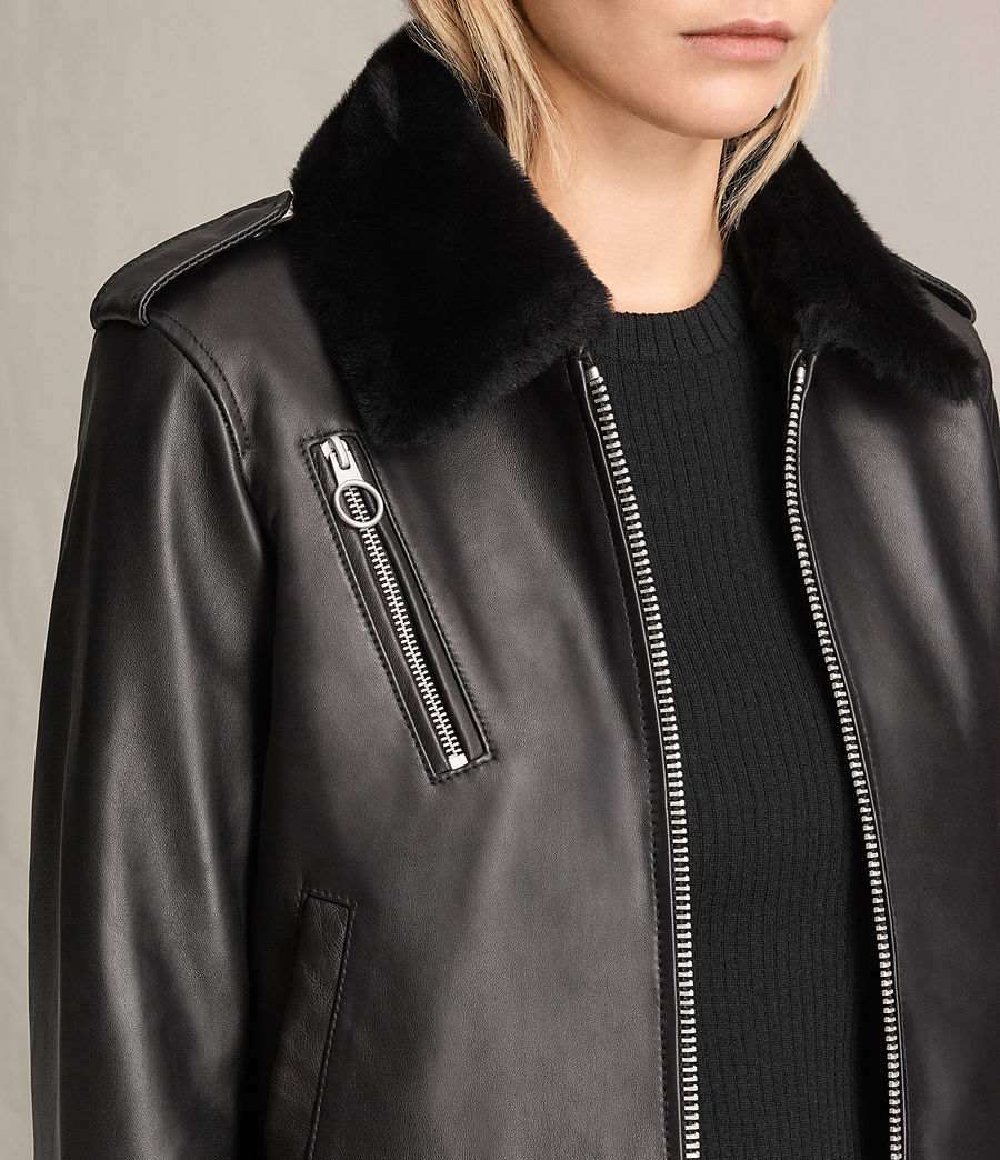 Damen Carpen Bomberjacke aus Leder (black_black) - Image 2