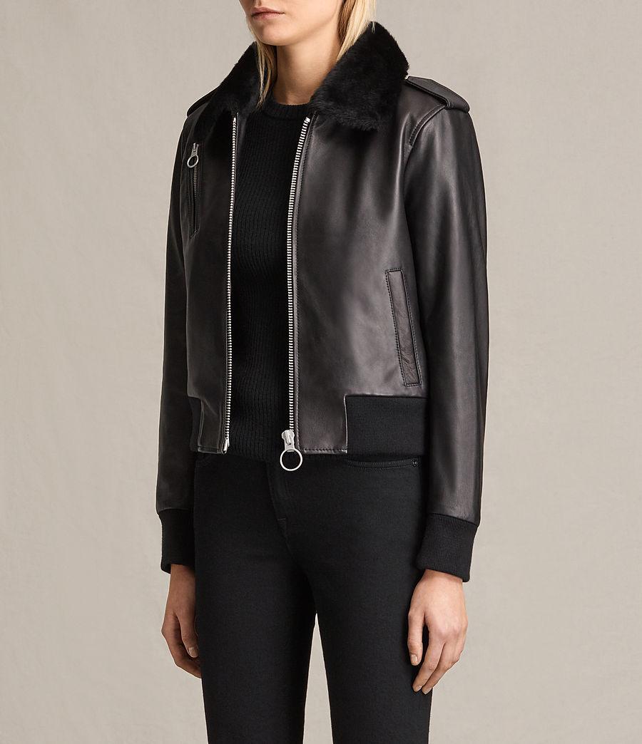 Damen Carpen Bomberjacke aus Leder (black_black) - Image 4