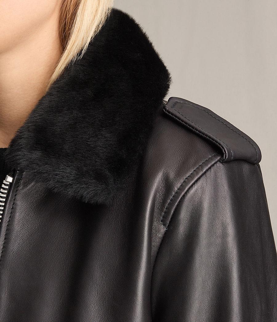 Damen Carpen Bomberjacke aus Leder (black_black) - Image 6
