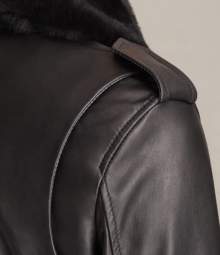 Damen Carpen Bomberjacke aus Leder (black_black) - Image 7