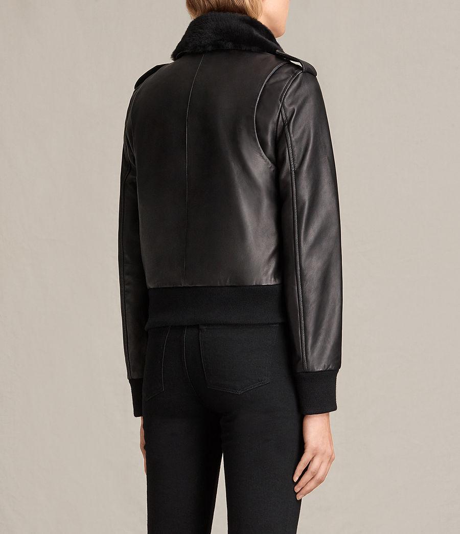 Damen Carpen Bomberjacke aus Leder (black_black) - Image 8