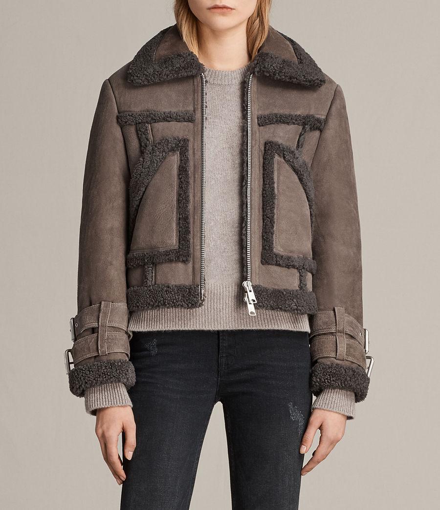 Womens Asher Shearling Biker Jacket (grey) - Image 1