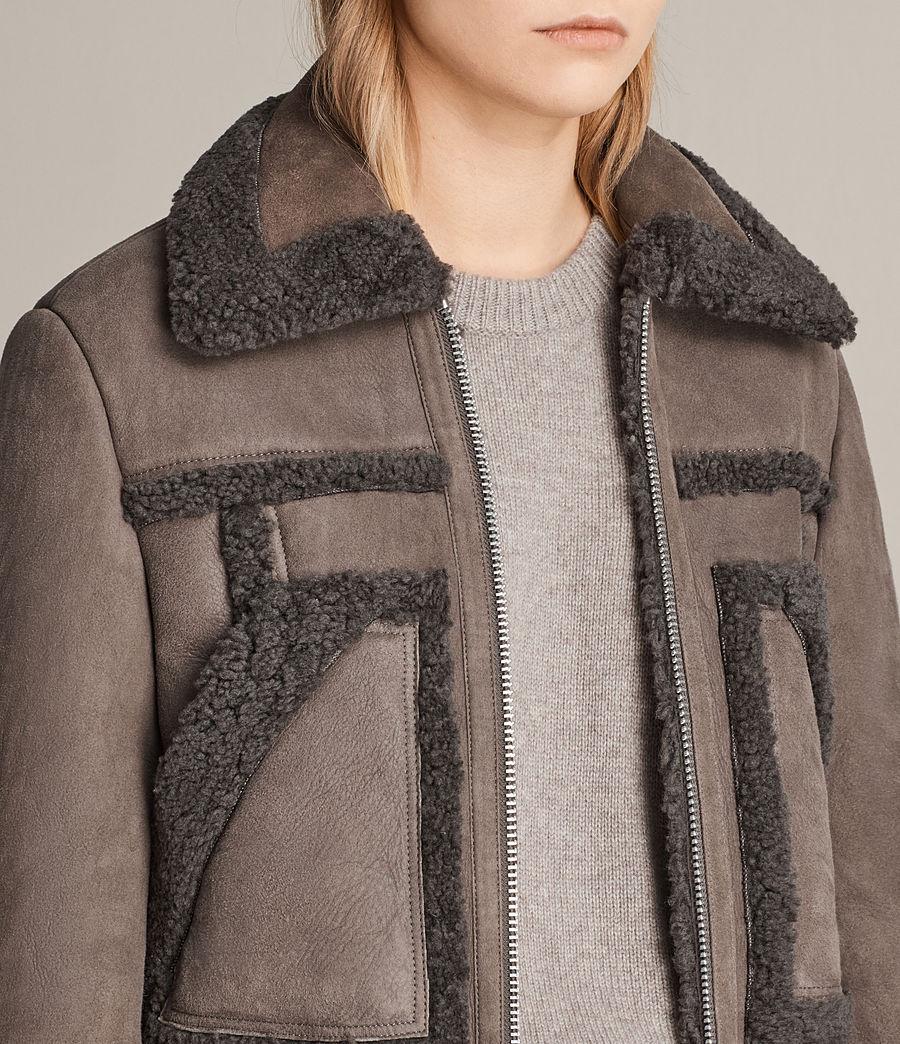Womens Asher Shearling Biker Jacket (grey) - Image 2