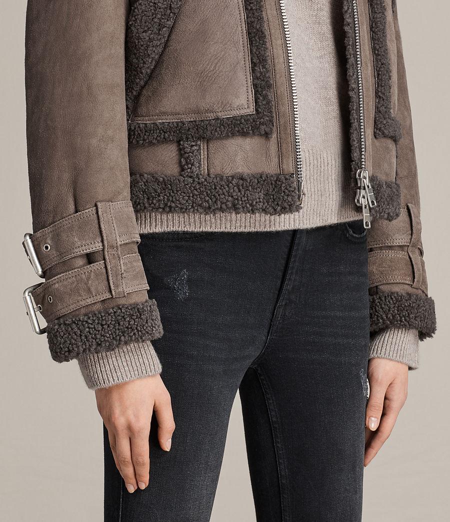 Womens Asher Shearling Biker Jacket (grey) - Image 4