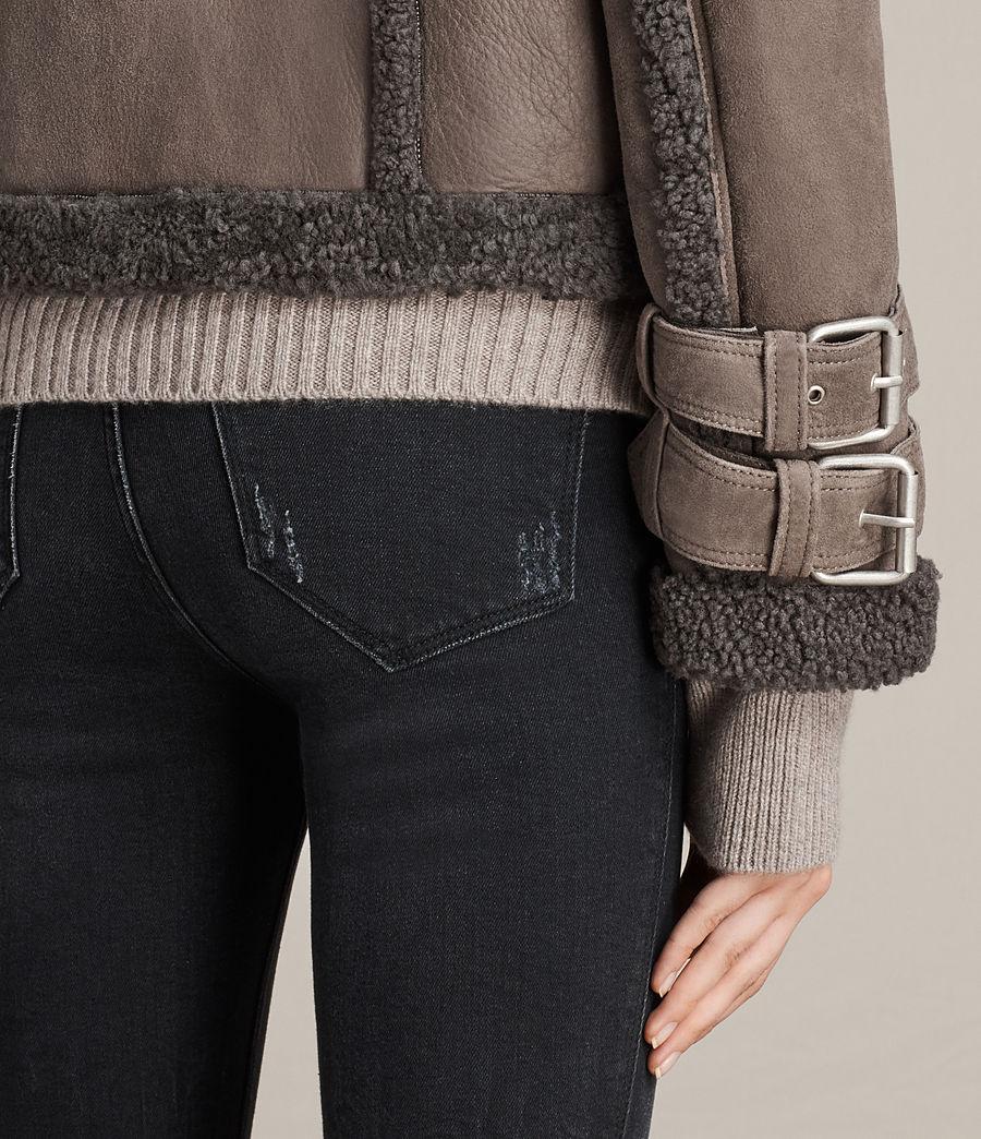 Womens Asher Shearling Biker Jacket (grey) - Image 5