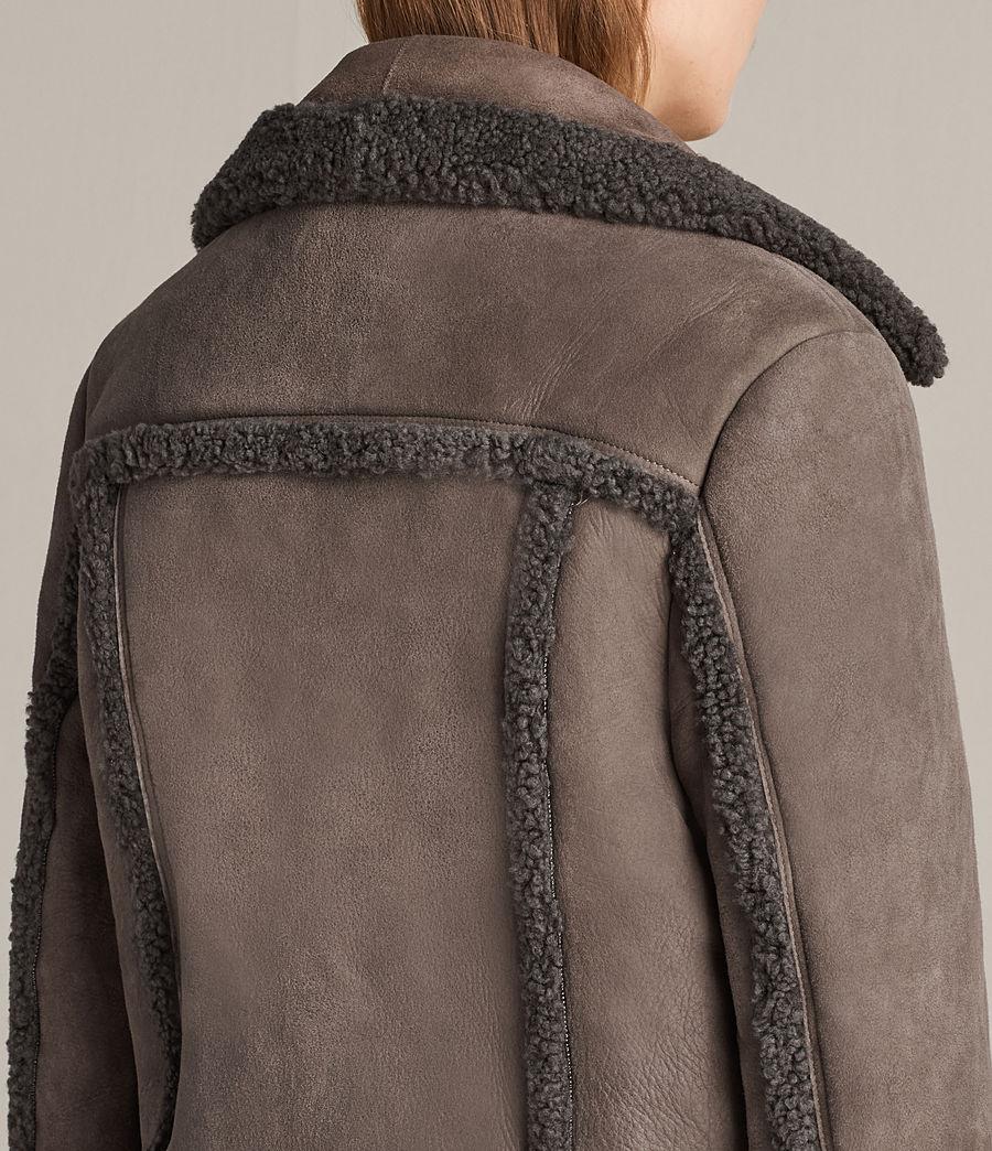 Womens Asher Shearling Biker Jacket (grey) - Image 6