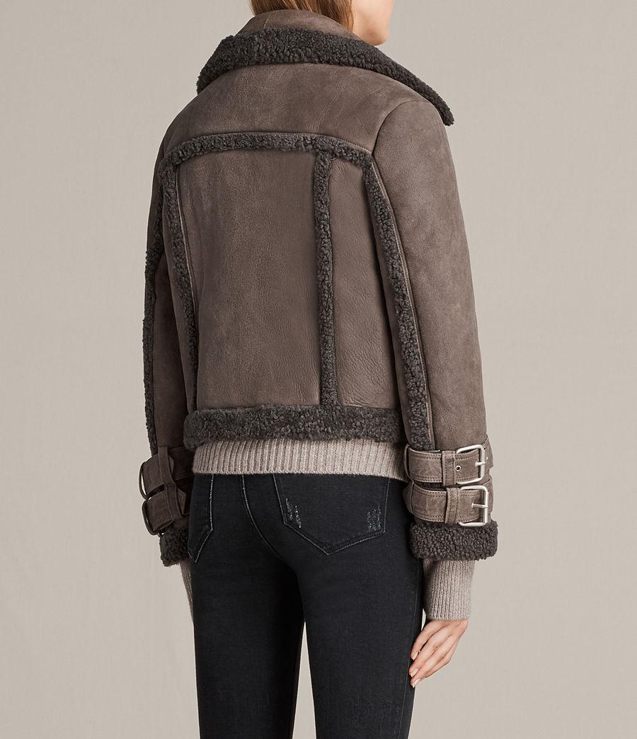 Womens Asher Shearling Biker Jacket (grey) - Image 7