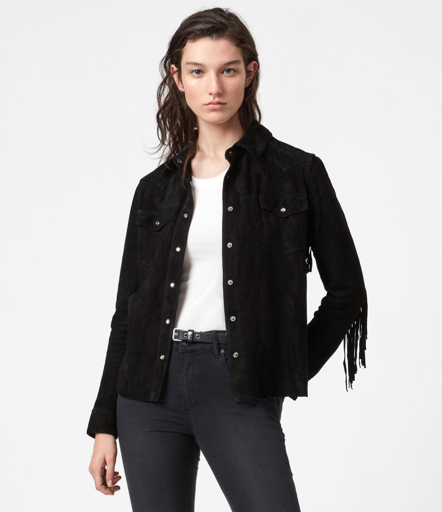 Women's Stanway Suede Tassel Shirt (washed_black) - Image 1