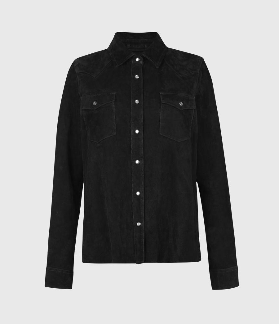 Women's Stanway Suede Tassel Shirt (washed_black) - Image 3