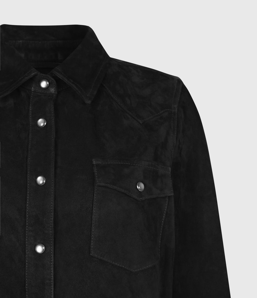 Women's Stanway Suede Tassel Shirt (washed_black) - Image 5