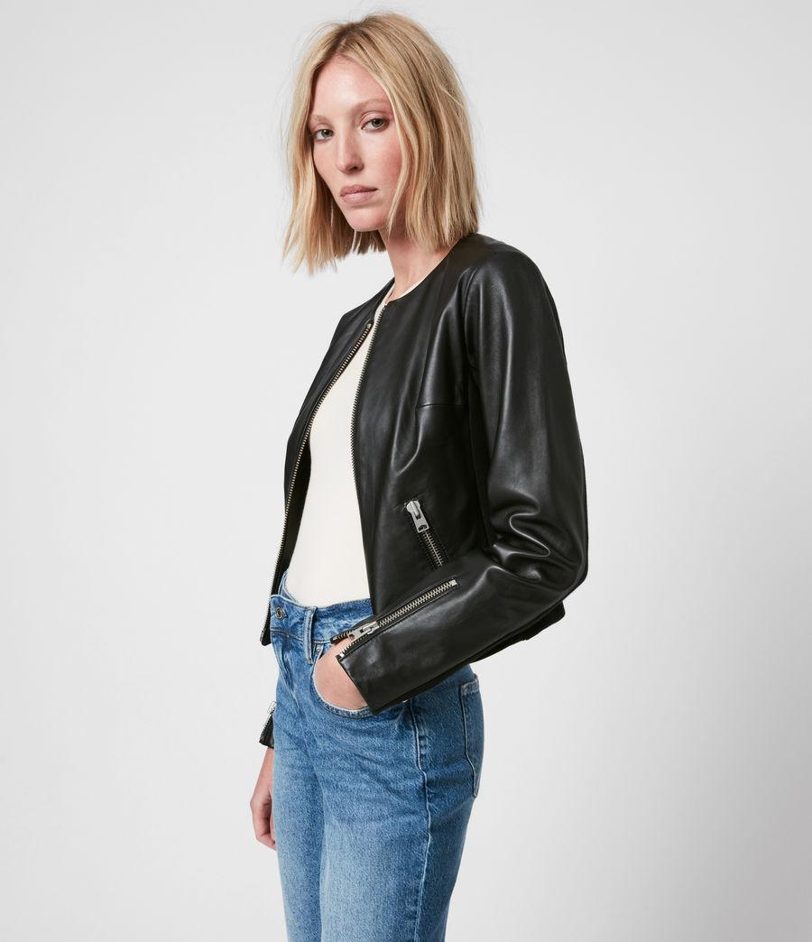 Women's Nala Leather Biker Jacket (black) - Image 1