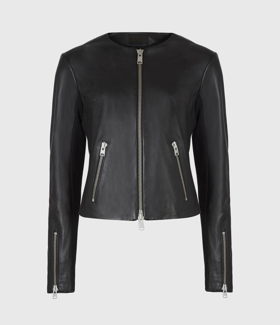 Women's Nala Leather Biker Jacket (black) - Image 2
