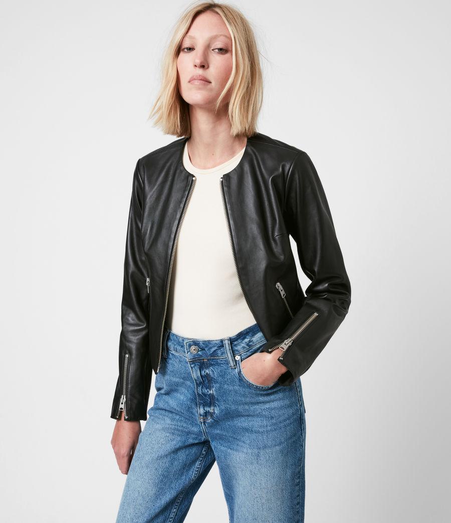 Women's Nala Leather Biker Jacket (black) - Image 4