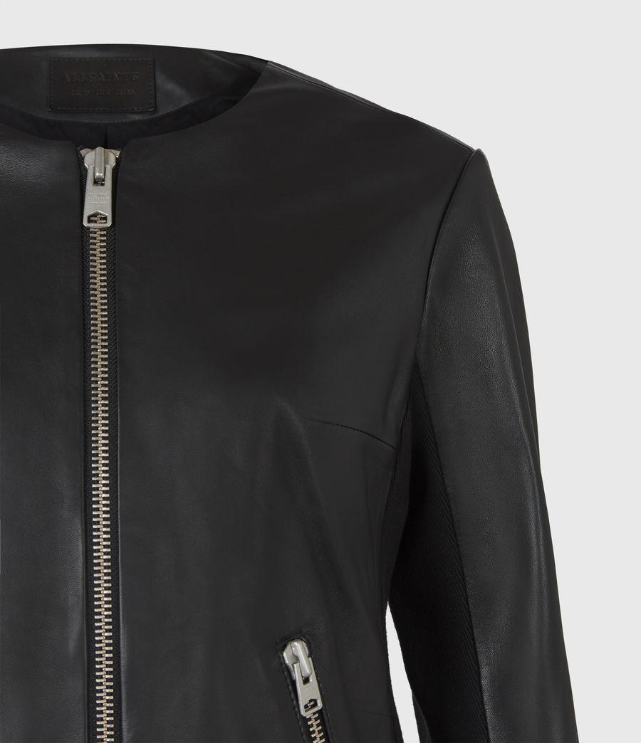 Women's Nala Leather Biker Jacket (black) - Image 5