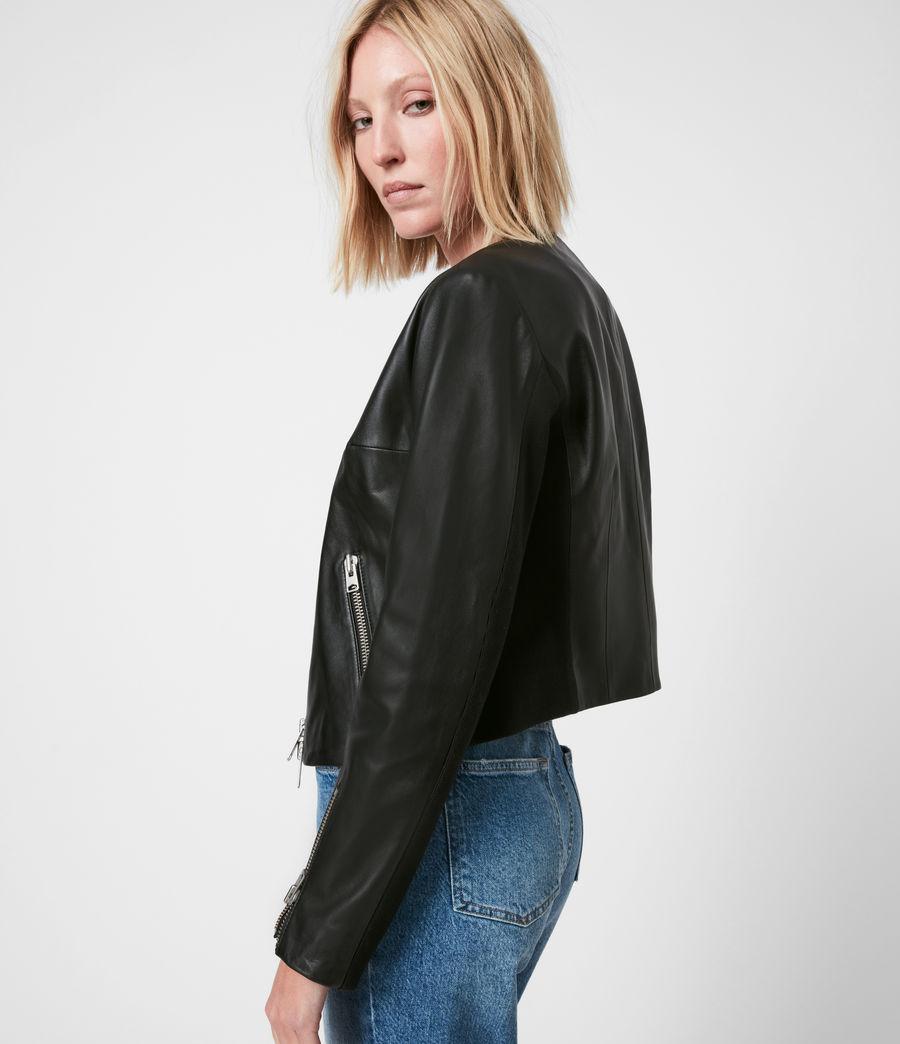 Women's Nala Leather Biker Jacket (black) - Image 7