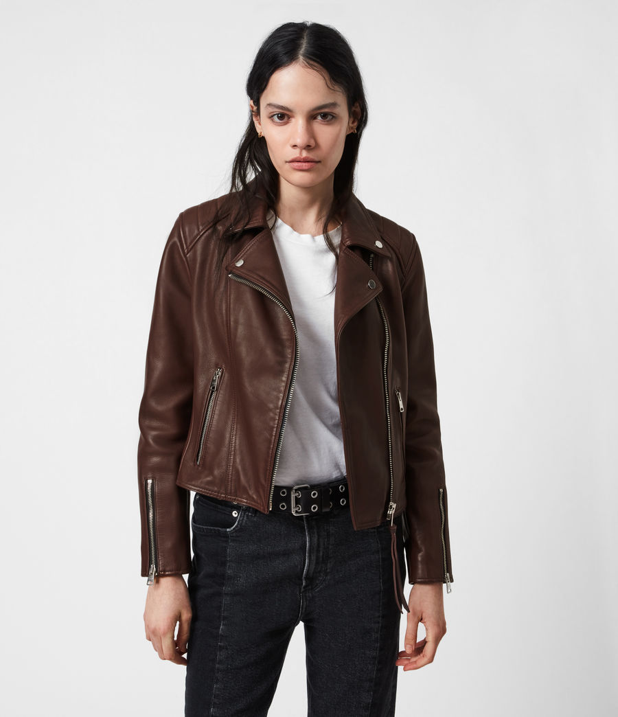 Women's Neve Quilt Leather Biker Jacket (bordeaux_red) - Image 1