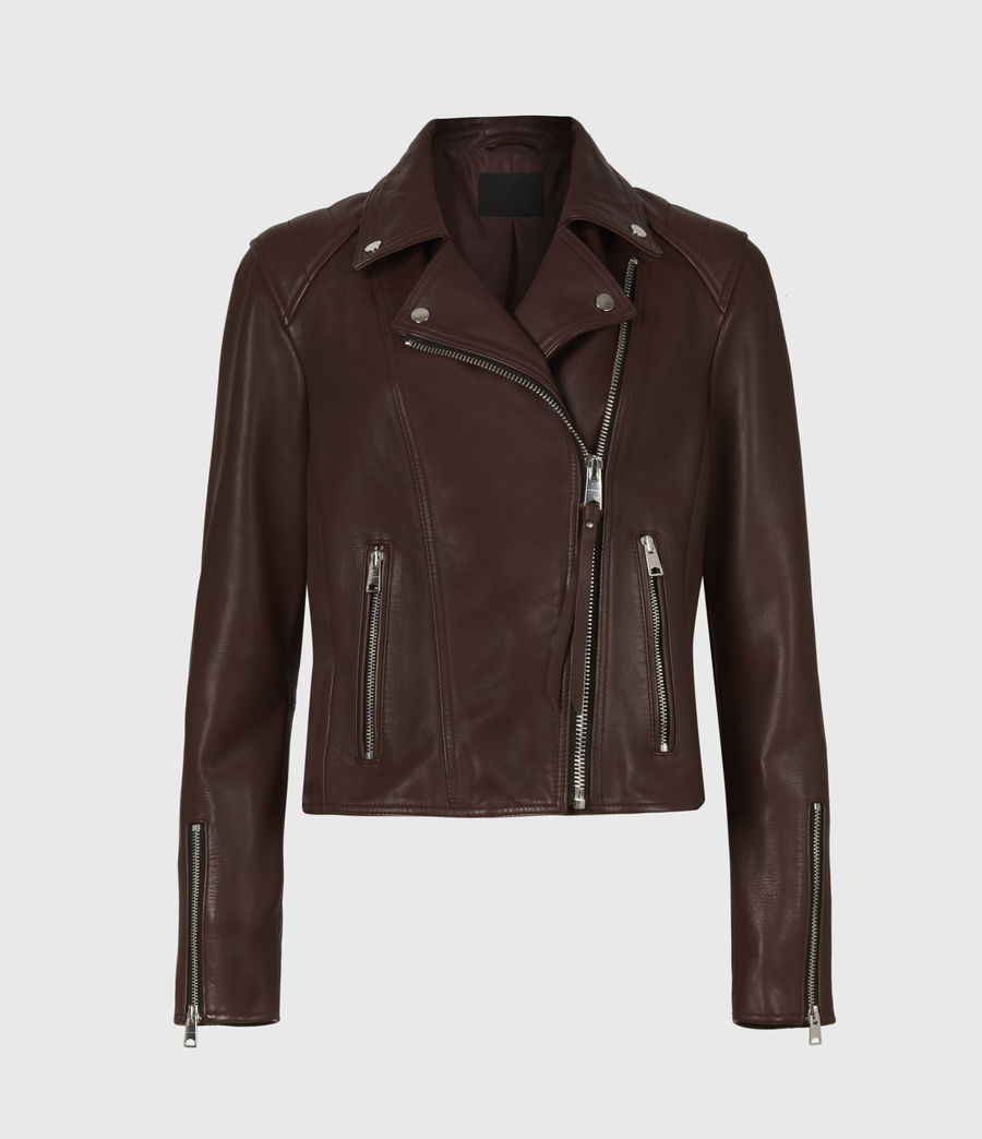 Women's Neve Quilt Leather Biker Jacket (bordeaux_red) - Image 2