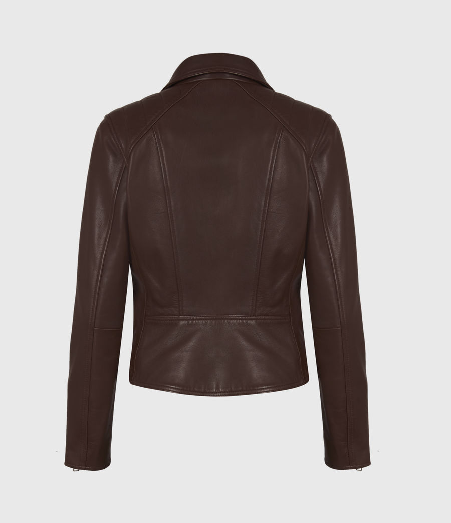 Women's Neve Quilt Leather Biker Jacket (bordeaux_red) - Image 3