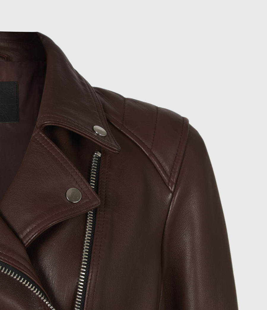 Women's Neve Quilt Leather Biker Jacket (bordeaux_red) - Image 5