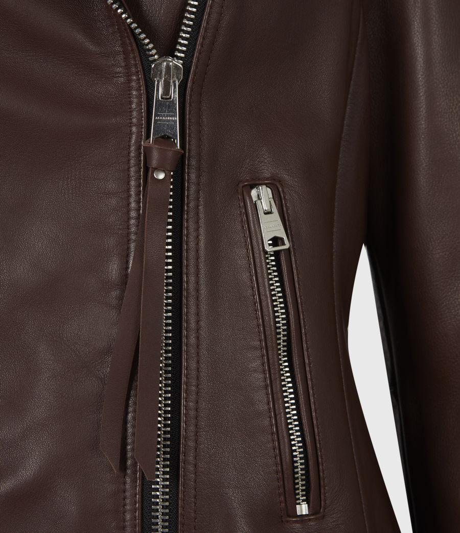 Women's Neve Quilt Leather Biker Jacket (bordeaux_red) - Image 6