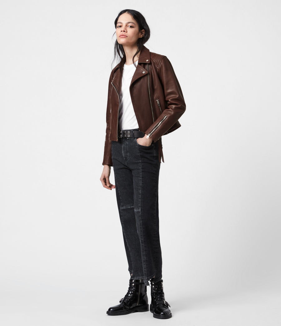 Women's Neve Quilt Leather Biker Jacket (bordeaux_red) - Image 7