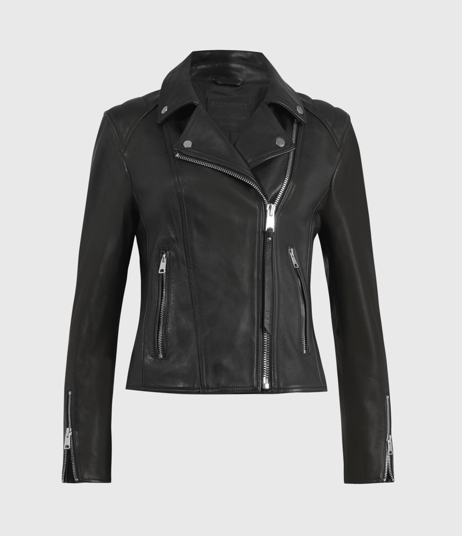 Women's Neve Quilted Leather Biker Jacket (black) - Image 2