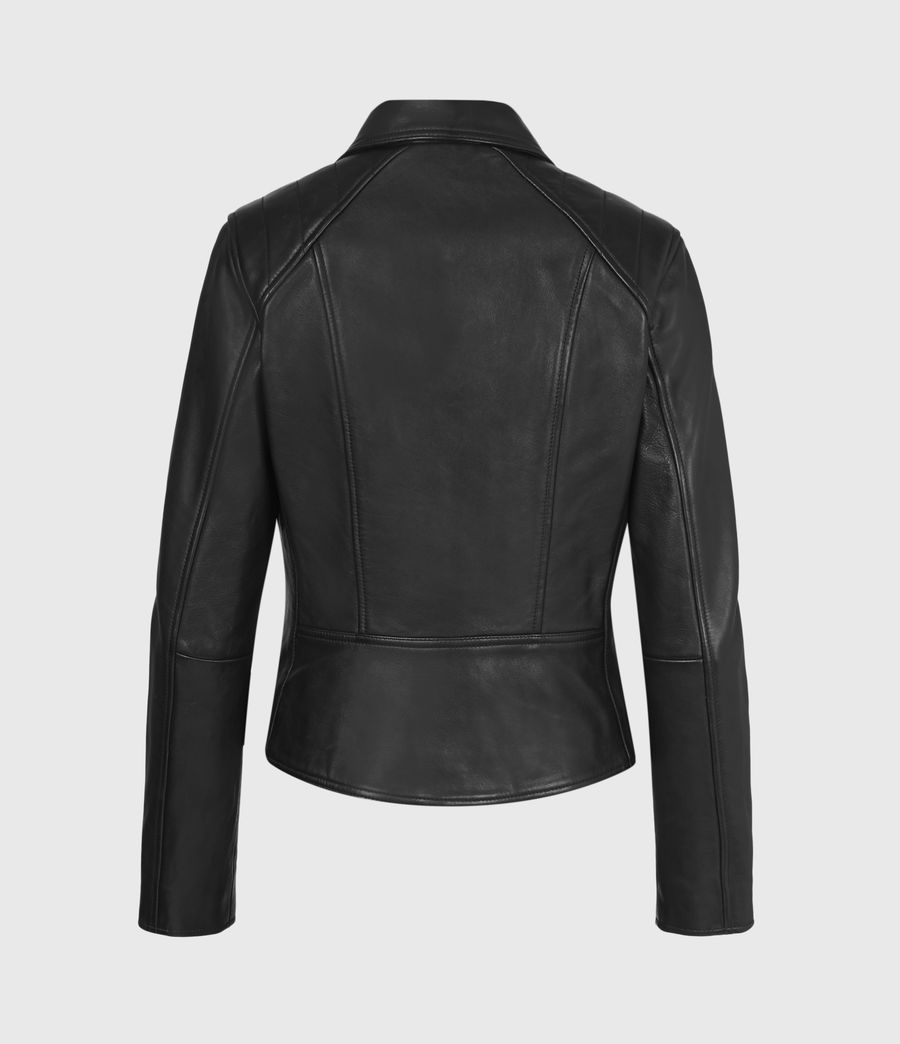 Women's Neve Quilted Leather Biker Jacket (black) - Image 3