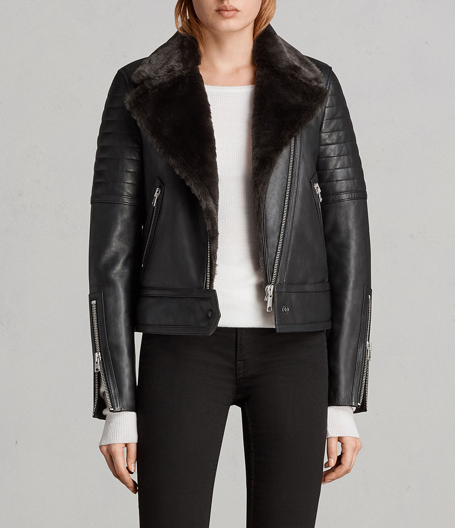 Women's Perkins Lux Leather Biker Jacket (black_magma_grey) - Image 1