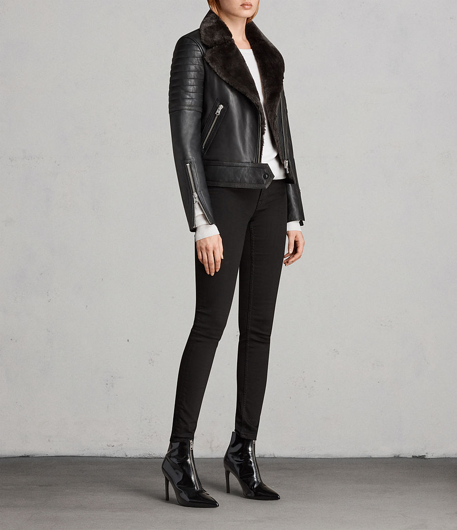 Women's Perkins Lux Leather Biker Jacket (black_magma_grey) - Image 3