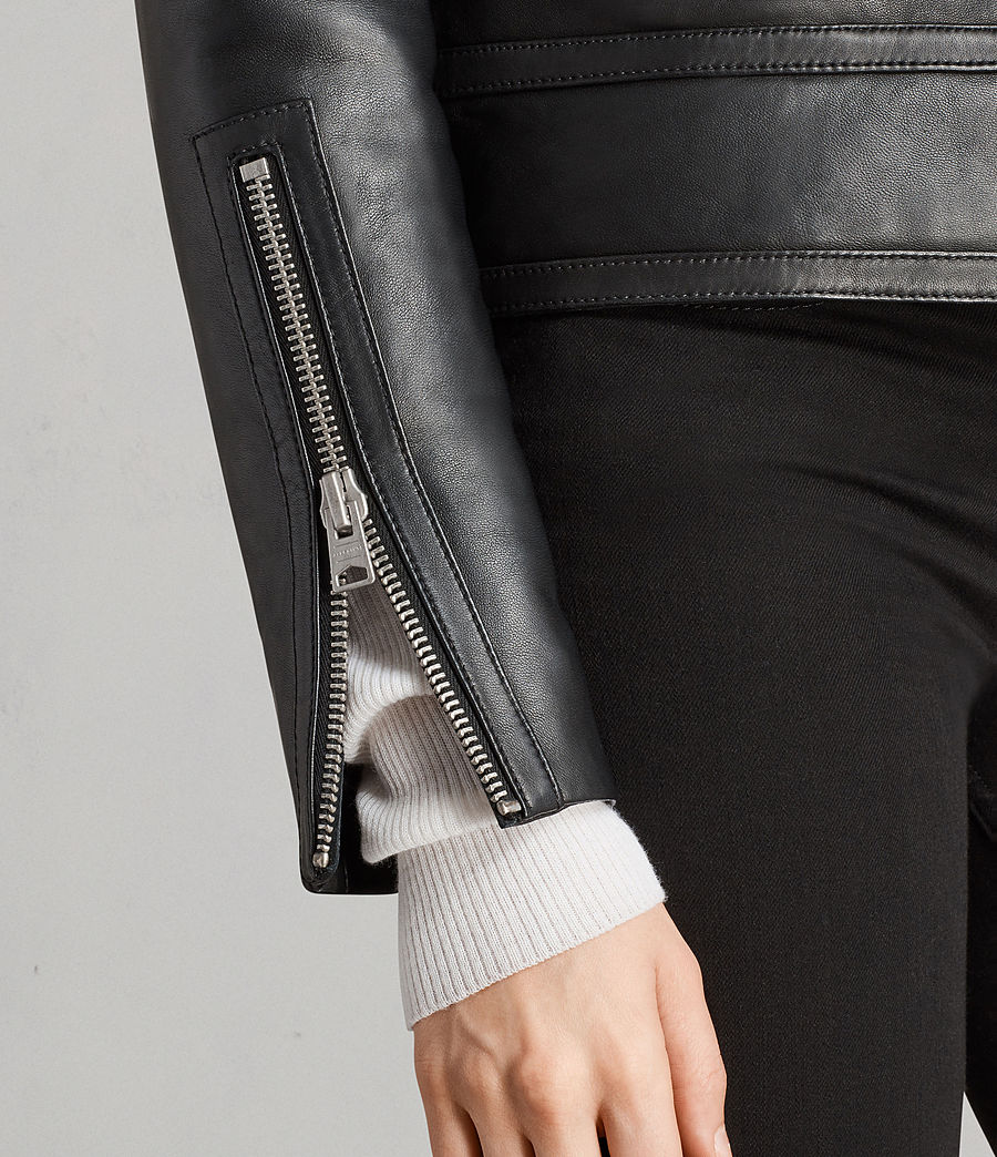 Women's Perkins Lux Leather Biker Jacket (black_magma_grey) - Image 5