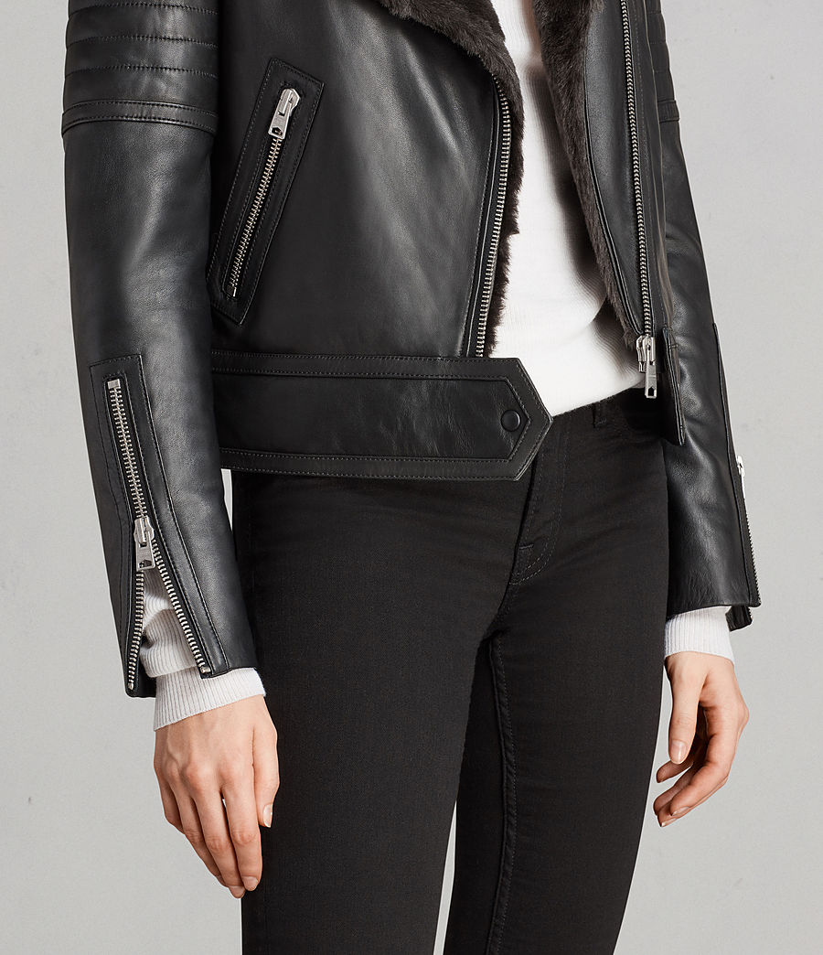 Damen Perkins Lux Leder Bikerjacke (black_magma_grey) - Image 6